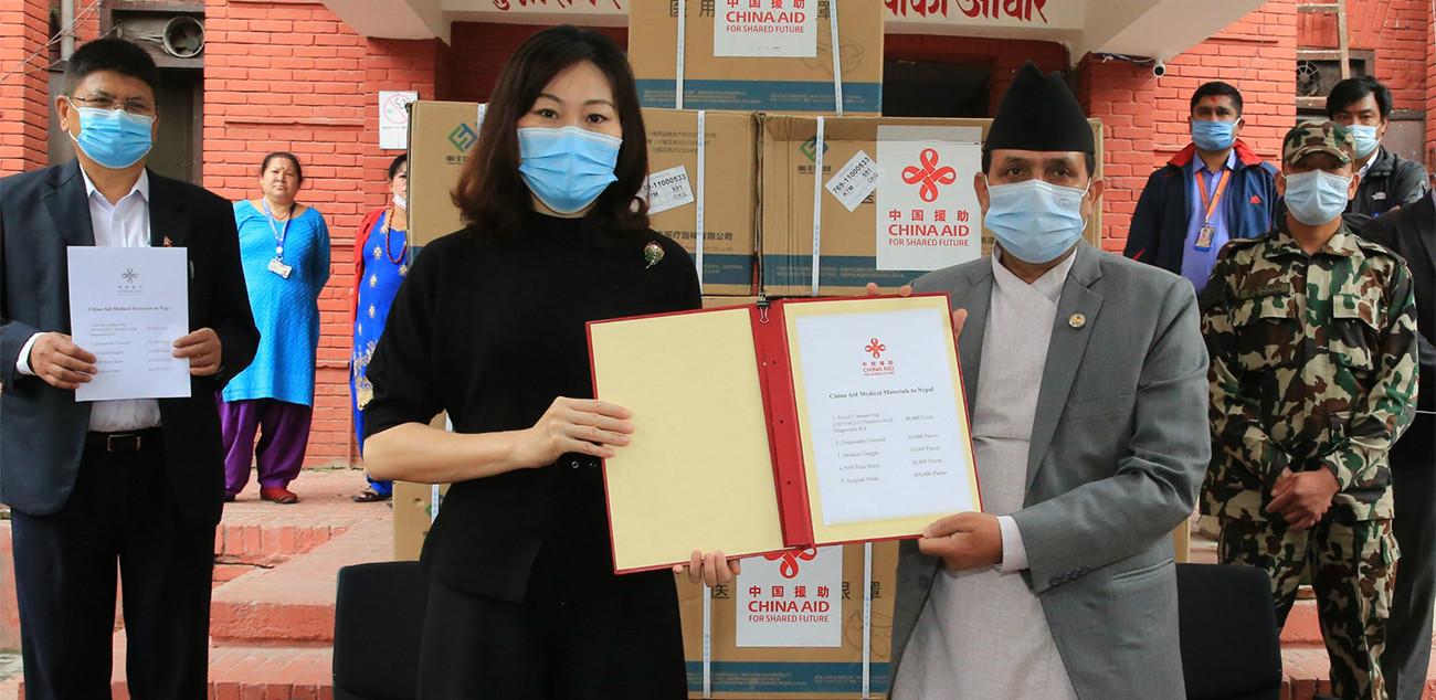 चीनद्वारा नेपाललाई ४० हजार परीक्षण किट हस्तान्तरण