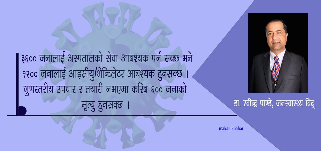 गुणस्तरीय उपचार र तयारी नभएमा करिब ६०० जनाको मृत्यु हुनसक्छ:डा. रवीन्द्र पाण्डे