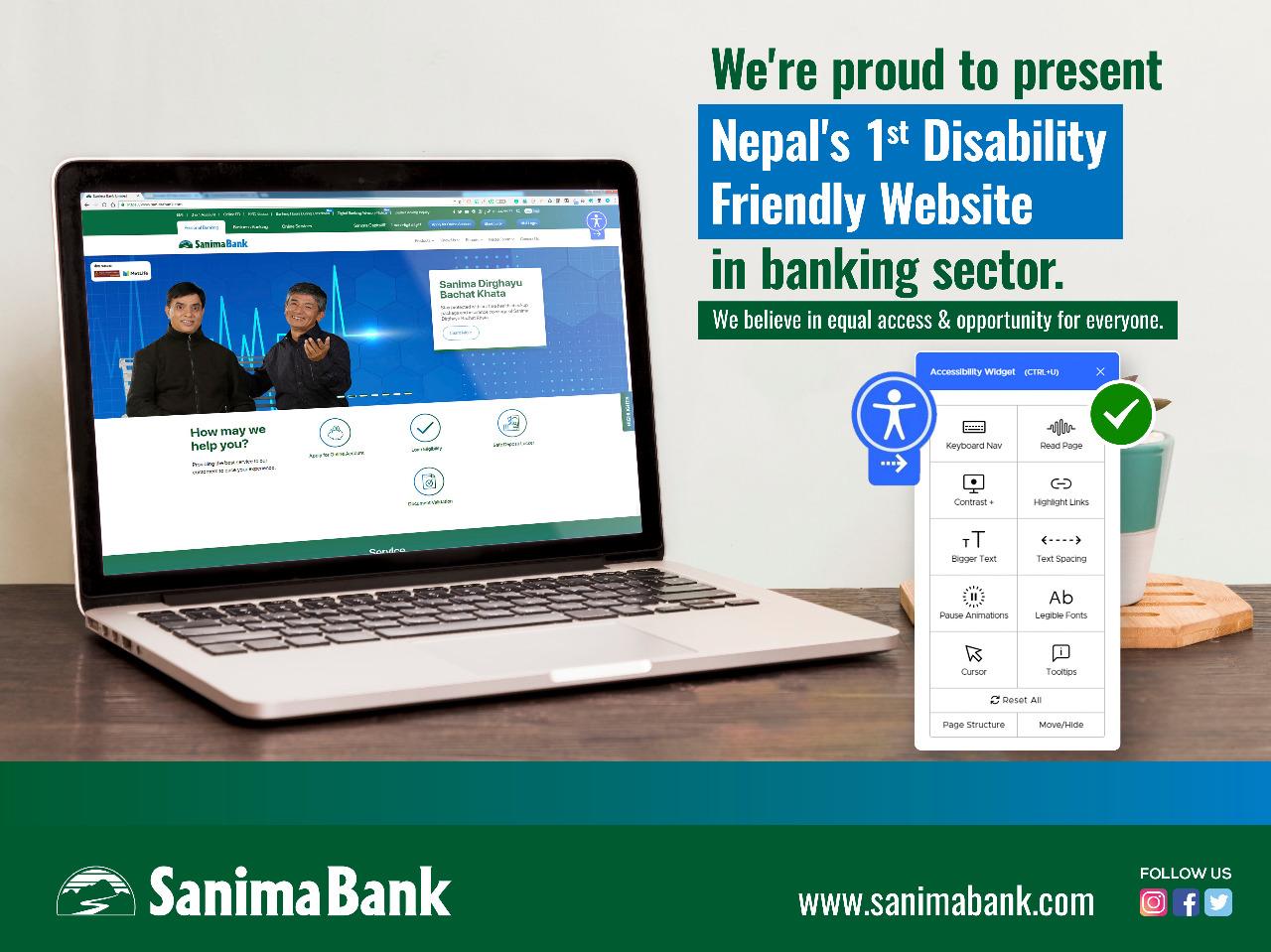 नेपालमै पहिलो पटक बैङ्किङ क्षेत्रमा अपाङ्गता मैत्री वेबसाइट