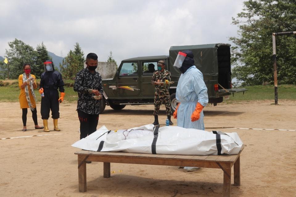 नेपाली सेनाद्वारा कोरोनाबाट मृत्यु भएकाको शव व्यवस्थापन सम्बन्धी डेमो प्रदर्शन