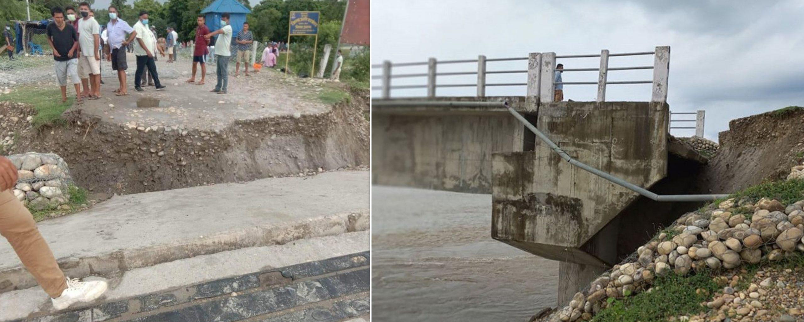 सुदूरपश्चिम र लुम्बिनी प्रदेश जोड्ने पुल भासियो, आउजाउमा रोक