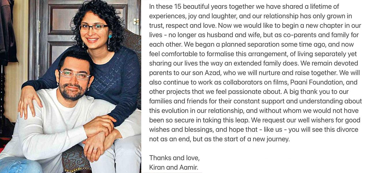 आमिर र किरणको सम्बन्धविच्छेद
