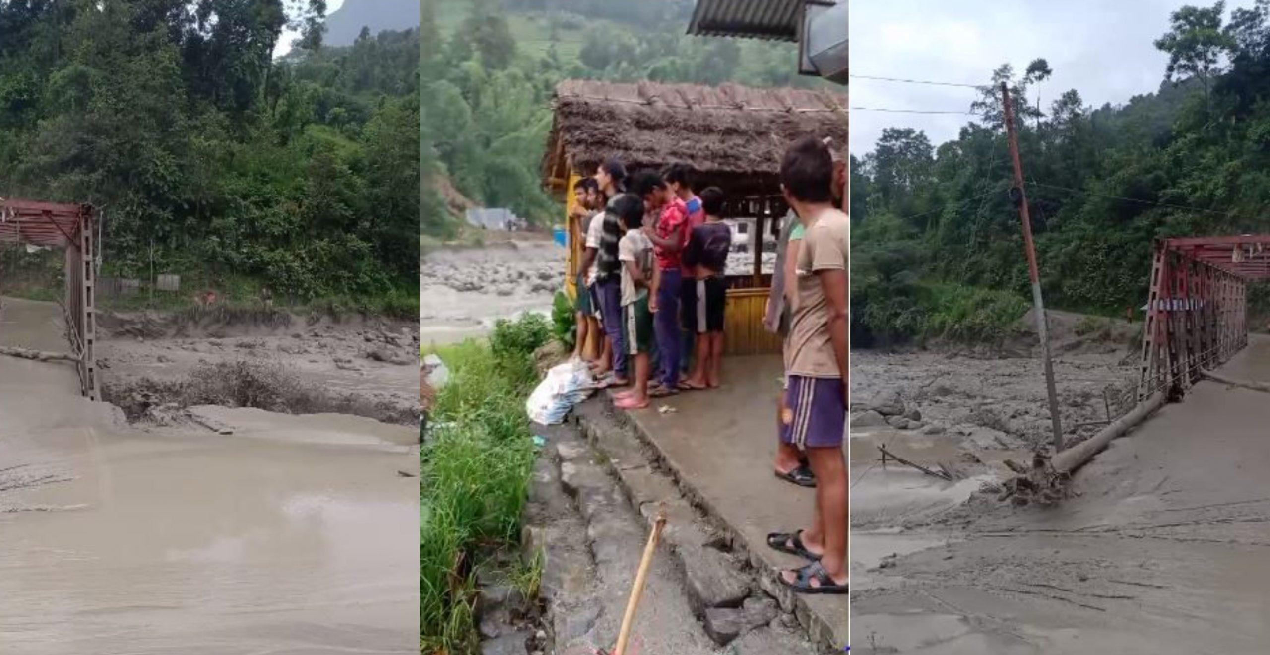 मेलम्चीमा फेरि बाढी, केही घरमा क्षति