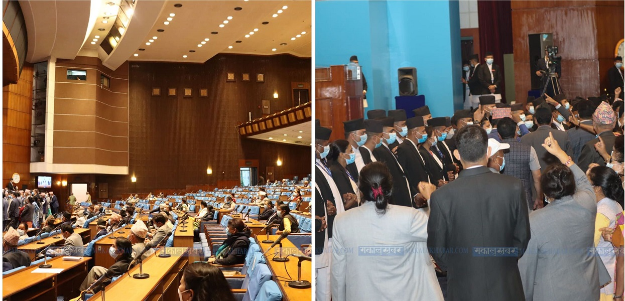 संसद् : एमालेको नाराबाजी निरन्तर (तस्बिरहरू)
